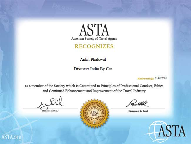 Discover india by car asta certificate